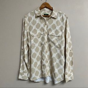 C. Wonder Bamboo Print Button Front Carrie Blouse
